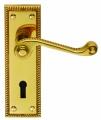 Brass door handles on a plate