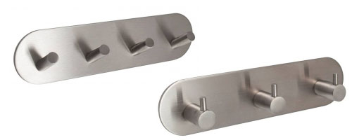 Self Adhesive Stainless Steel Multi Hooks on Backplate